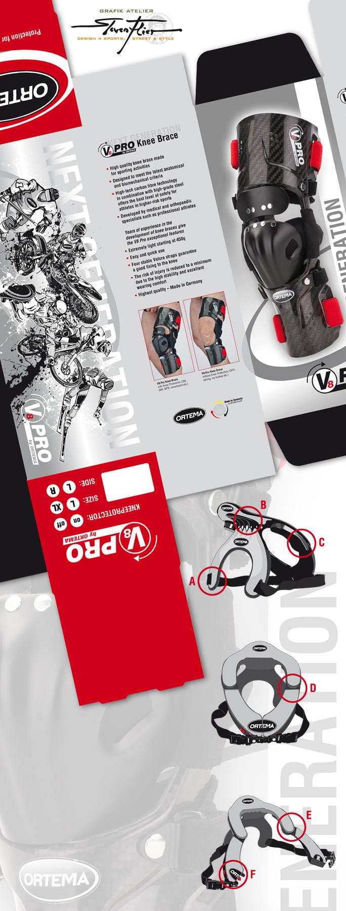 ORTEMA, V8, ONB, Neck Brace, Knie Orthese, Knee Brace, Verpackung, Package, Design, Illustration, Steven Flier