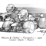 Pencil Illustration - Comic-Style - Formula 1 - 2013 - Massa and Vettel