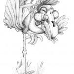 Pencil Illustration Fabulous Beast - Pfeifer - Kind of whistling Flamingo