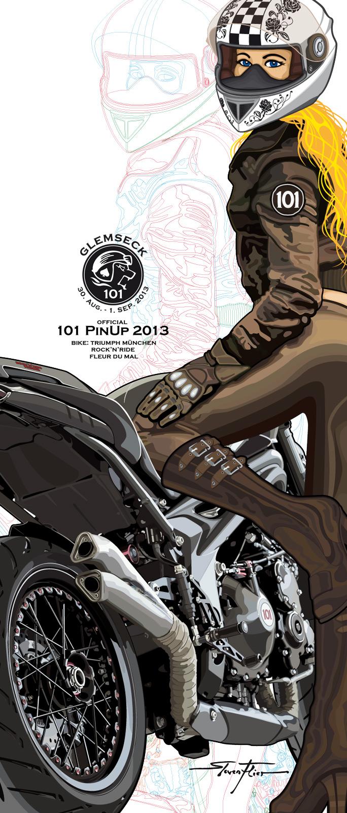 PinUp, Vector, Vektor, Illustration, Glemseck 101, 2013, Steven Flier, Fleur du Mal, Triumph München, Rock'n'Ride