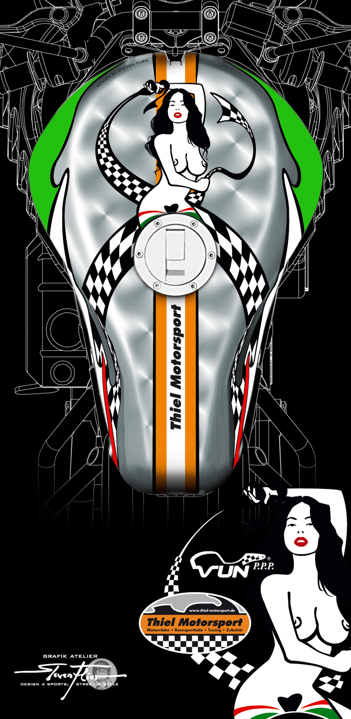 PinUp, Illustration, Vector, Vektor, Design, CR&S, VUN PPP, Thiel Motorsport, Steven Flier
