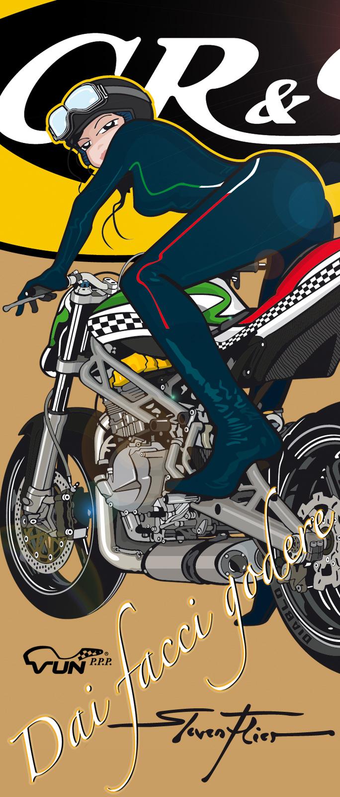 PinUp, Illustration, Vektor, Vector, VUN, PPP, CR&S, Milan, Mailand, Thiel Motorsport, Steven Flier
