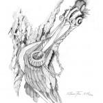 Pencil Illustration Fabulous Beast - Woodpecker