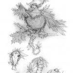Pencil Illustration Fabulous Beast - Ugly Bird