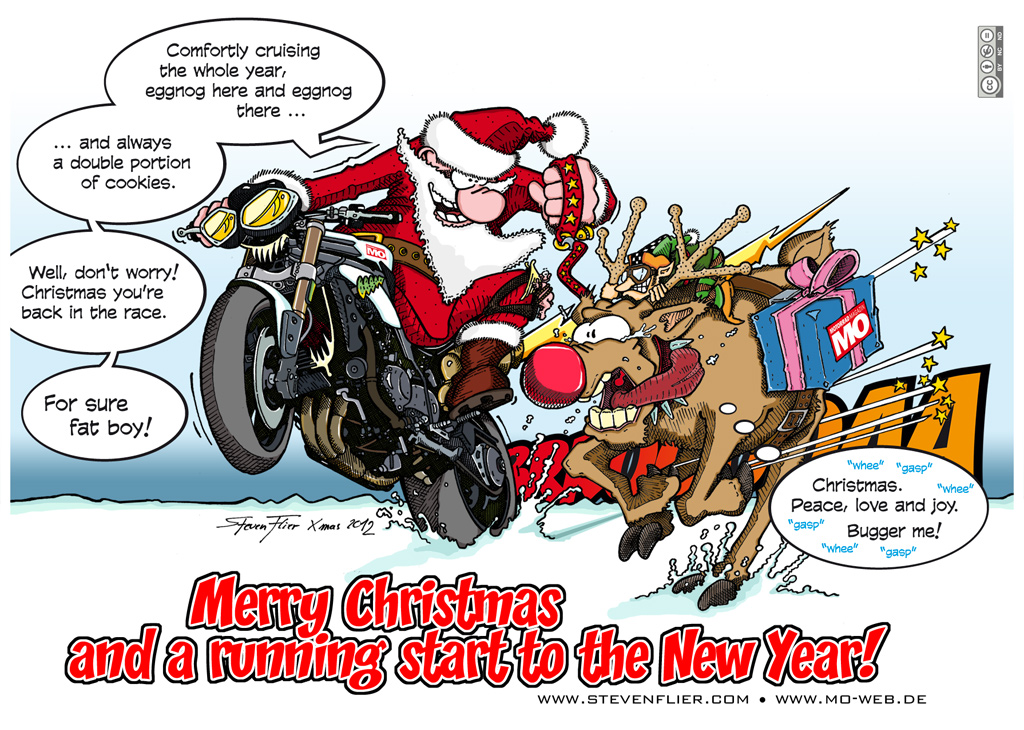 weihnachten christmas illustration comic motorrad. Black Bedroom Furniture Sets. Home Design Ideas