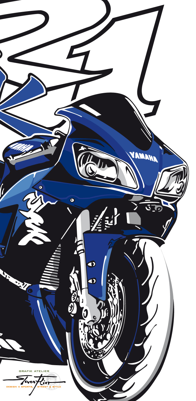 Illustration, Vektor, Vector, Tattoo, Design, Steven Flier, Yamaha, R1, First Generation