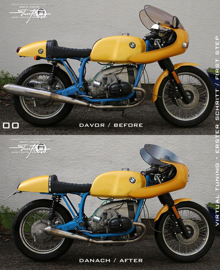 Virtual Tuning '78 BMW R100 Cafe Racer - Erste Schritte - Davor und Danach / First Steps - Before and Afterwards