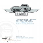 Example of a premium logo / label design with an illustration of a 300 SL Gullwing