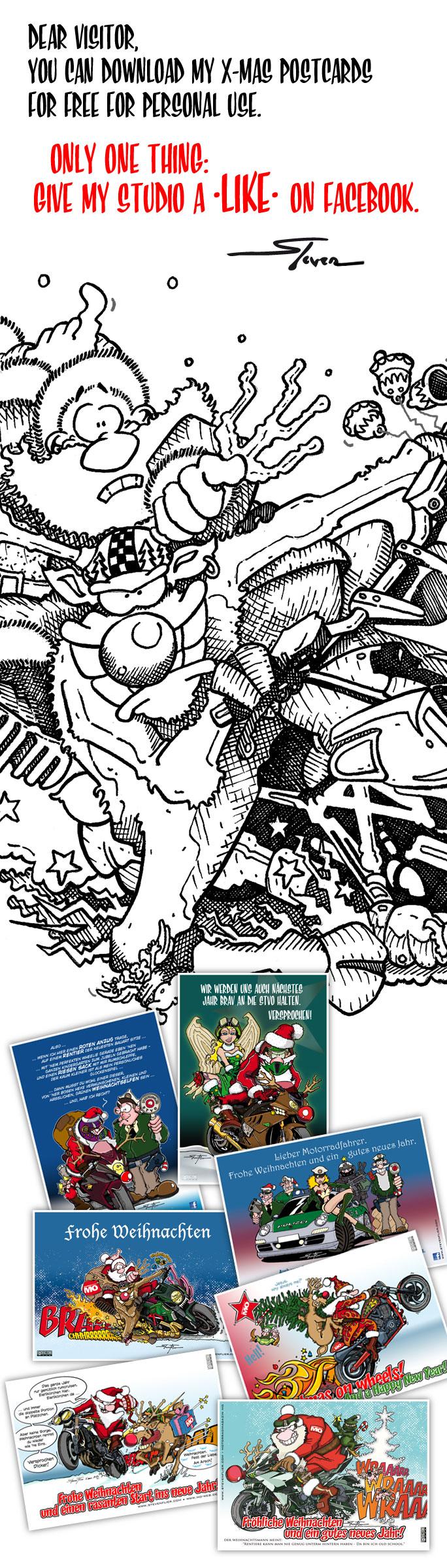 Weihnachten, Christmas, Illustration, Comic, Motorrad, Motorcycle, Santa Clause, Nikolaus, Steven Flier, Motorrad Magazin MO, Postcards, Free Download