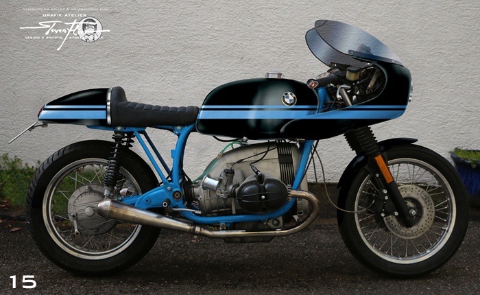 Virtual Tuning '78 BMW R100 Cafe Racer - Design Studie Schwarz-Blau / Design Study Black-Blue